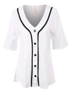 Ladies, no need to borrow your man's jersey to the games anymore. This oversized button down short sleeve baseball tunic shirt is both comfortable and cute. Made of a lightweight super-soft material,