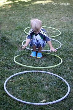 Jumping from hoop to hoop involves motor planning and coordination.