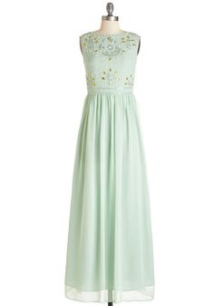 Sublime Sparkle Dress. Todays effervescent attitude will carry into your evening once you slip on this mint-green maxi dress! #mint #prom #wedding #bridesmaid #modcloth