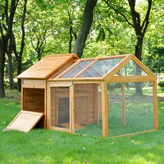 Wood Chicken Coop Poultry Cage House Backyard Nest Run Tractor Hen Rabbit Hutch