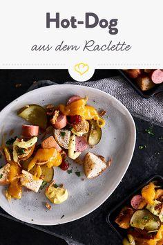 Hot-Dog-Pfännchen aus dem Raclette Hot Dogs, Mini Pizza, Fondue, Vegan, Party, Apple, Fingerling Potatoes, Food For The Soul, Raclette Ideas
