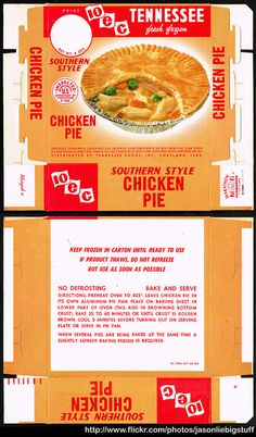 Tennessee Foods - 10-E-C Southern Style Chicken Pie - frozen dinner package box - Marathon printer sample - 1962 | Flickr - Photo Sharing!