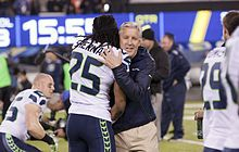 Pete Carroll - Peter Clay Carroll (born September 15, 1951) is an American football coach who is the head coach and executive vice president of the Seattle Seahawks of the National Football League (NFL). He is a former head coach of the New York Jets, New England Patriots, and the USC Trojans of the University of Southern California (USC). Carroll is one of only three football coaches who have won both a Super Bowl and a college football national championship.