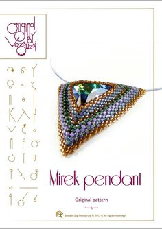 Pendant tutorial / pattern Mirek with swarovski triangle PDF instruction for personal use only