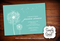 Dandelion Birthday Baby Shower Bridal Shower Birthday Invitation Tiffany Blue. $16.00, via Etsy.