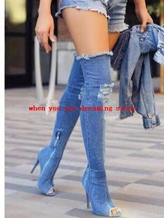 107.84$  Buy here - http://ai07l.worlditems.win/all/product.php?id=32805364840 - 2017 Women Sexy Holes jeans boots high heel over the knee stretch Denim boots Stress Style Peep Toe Fashion Shoes Women
