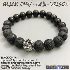 Yoga Bracelets Meditation Tibetan Buddhist Beaded Mala Men & Women. karma arm. Dragon Black Onyx Lava.