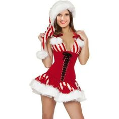 Sexy Candy Cane Corset Xmas Costume ($15) ❤ liked on Polyvore featuring costumes, christmas halloween costume, sexy candy cane costume, candy cane costume, sexy halloween costumes and red costumes