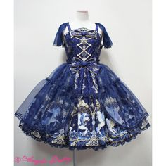 Crystal Dream Carnival Tiered JSK ❤ liked on Polyvore featuring dresses, lolita, jsk, crystal dream carnival, angelic pretty, blue dress, blue tiered dress, tiered dress and crystal dress