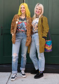 """Meagan,35Amanda,34Meagan: """"My style is inspired by pop art, the late 70s West Coast punk scene, women in rock including Poison Ivy of The Cramps, Exene Cervanka of the band X, Joan Jett and always Elvira. Love what's happening in Korean fashion right now.""""Amanda: """"I am inspired by 80s glam rock, 90s fashion's use of color blocking, anything with fringe and gem stones that sparkle. I draw influence from rock icon Courtney Love and comedy icon Phyllis Diller. Really love what Jeremy Scott is…"""