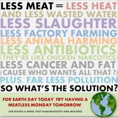 Less meat = less waste, pollution, drug residue in food, cancer and fat