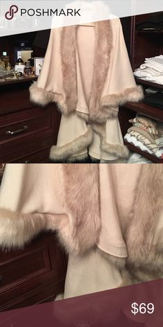 Fur cape with sleeves Fur cape with sleeves.worn once like new.one sz fits all Jackets & Coats Capes