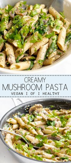 Creamy Mushroom Pasta with Parsley I Georgie Eats This creamy mushroom pasta is the ultimate 'I don't want to cook' dish! It's ready in only 20 minutes, is packed with goodness and is utterly delicious. Best Vegan Recipes, Healthy Pasta Recipes, Healthy Pastas, Gourmet Recipes, Vegetarian Recipes, Dinner Recipes, Seafood Recipes, Free Recipes, Easy Recipes