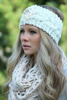 Ivory Knitted Embellished Headwrap Headband http://www.nanamacs.com/ivory-knitted-embellished-headwrap-headband/