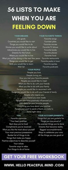 56 list to make when you are feeling down.