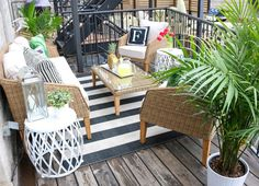 Before & After: Odd-Shaped Deck to Outdoor Oasis | Wayfair Take a look at how one blogger turned her small, awkward balcony into an envy-inducing getaway.