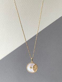 Add this mother of pearl moon star and sun necklace to your layering necklaces for something special. Cute Jewelry, Jewelry Accessories, Jewelry Necklaces, Layering Necklaces, Jewelry Design, Necklaces For Girls, 18k Gold Jewelry, Moon Jewelry, Layered Necklace