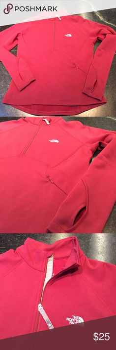 The North Face 1/4 zip, fleece lined pullover The North Face flight series, raspberry colored, 1/4 zip, fleece lined pullover The North Face Other