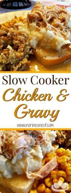 Slow Cooker Chicken and Gravy is pure comfort food and easy! Serve on … Slow Cooker Chicken and Gravy is pure comfort food and easy! Serve on top of mashed potatoes, rice, gravy, or biscuits! It's the BEST! Slow Cooker Huhn, Crock Pot Slow Cooker, Slow Cooker Chicken, Slow Cooker Recipes, Cooking Recipes, Cooking Tips, Crockpot Meals Easy Chicken, Cooking Classes, Healthy Chicken