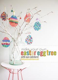 how to make an easter egg tree {diy sun catchers} - the handmade home