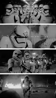 I'm not Resistance. I'm not a hero. I'm a stormtrooper. Like all of them, I was taken from a family I'll never know. And raised to do one thing. But my first battle, I made a choice. I wasn't gonna kill for them. So I ran. Right into you. And you looked at me like no one ever had. I was ashamed of what I was. But I'm done with the First Order. I'm never going back. Rey, come with me.    #starwars