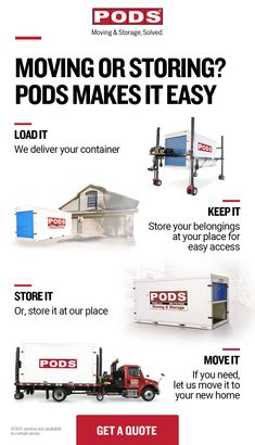 Need to make room with flexible storage in your driveway? Need to move your stuff to a secure storage facility or your new home? Whatever your needs, PODS can help. Tap the Pin for a free quote. Moving House Tips, Moving Day, Moving Tips, Pods Moving And Storage, Storage Facility, Secure Storage, Primitive Kitchen, Family Room Design, Beach Signs