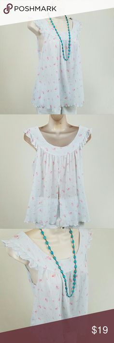 NWT GAP blue floral babydoll split back top NWT ruffle sleeve babydoll top with a split back in a gauzy, semi sheer blue crinkle cotton accented by pink roses, from the GAP Body line.  Great for hot summer days!  Bust 18 / length 23.5 inches.  100% cotton. GAP Tops