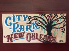 "New Orleans art - new orleans hand painted sign - jazz fest art - new orleans original - new orleans painting - new orleans folk art ""City Park New Orleans"" Hand painted original sign. City Park New Orleans, New Orleans Art, Hand Painted Signs, Painted Wood, Painted Flower Pots, Wood Art, New Art, Wood Signs, Jazz"