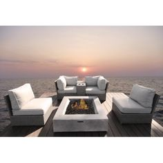 Grafton 6 Piece Rattan Sectional Seating Group with Cushions