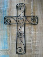 Rustic Metal Cross with a Heart and Swirl, Wire Wall Decor