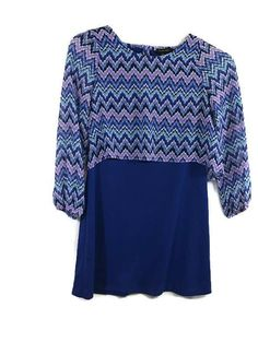 c4c568f02b NEW My Michelle Girls Dress Chevron Blue Purple Sheer Long Sleeve Size 16  NWT