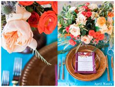 peach and pops of red florals to accent the turquoise table cloth   Encanterra Country Club Wedding Photos   Scottsdale and Phoenix Wedding Photographer   April Maura Photography   www.aprilmaura.com_0103.jpg