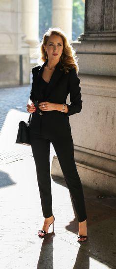 Satin-trimmed blazer, black silk camisole, black tuxedo pants, black ankle strap sandals, Lagos jewelry, black purse {Lagos, day to night, classy dressing}