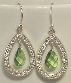 Silver Colored Metal, Rhinestones, and Faceted Green Teardrops Pierced Earrings #Unknown #DropDangle