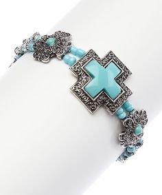 Another great find on #zulily! Silver & Turquoise Framed Cross Stretch Bracelet #zulilyfinds