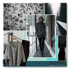 """""""Grey Dolman Sweater"""" by tasnime-ben ❤ liked on Polyvore featuring moda, Theyskens' Theory e romwe"""