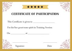 Sample Training Participation Certificate  Training Participation