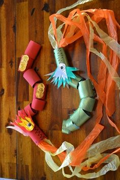 Toilet Paper Roll Dragons - great craft for Chinese New Year or St George's Day