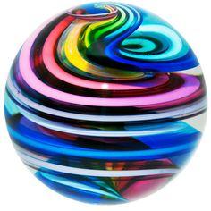 "Fritz Lauenstein 2 1/8""  Brilliant Colors Rainbow Corkscrew Art Glass Marble #ArtGlassMarble"