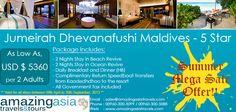 Jumeirah Dhevanafushi Maldives - Summer Mega Sale Offer! Period: 08 April 2013 - 30 September 2013 Markets: Valid for Asian Market
