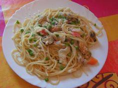 Spaghettis+aux+fruits+de+mer Pasta, Bon Appetit, Food And Drink, Cooking Recipes, Menu, Favorite Recipes, Ethnic Recipes, Fitness, Ravioli