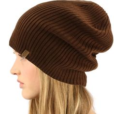 4e28d21771e Men s Winter 2ply Knit Fleece Lined Slouchy Big Beanie Skull Ski Hat Cap  Brown  fashion