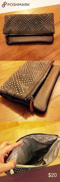 Studded Fold Over Clutch/Crossbody NWT! The perfect accent to your outfit//Chain strap included! Color: Gunmetal Gray Charming Charlie Bags Clutches & Wristlets