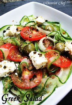 Greek salad- can use kalamata olives instead