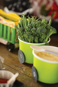 Vintage Railroad Train Birthday Party-the train food cups, just add paper wheels
