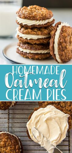 Soft chewy and loaded with memories of childhood these Homemade Oatmeal Cream Pies are the ultimate snack for all ages One bite of the spiced oatmeal cookies sandwiched t. Easy Cookie Recipes, Best Dessert Recipes, Fun Desserts, Delicious Desserts, Oatmeal Recipes, Desserts With Oatmeal, Fun Baking Recipes, Cookie Ideas, Oatmeal Cream Cookies