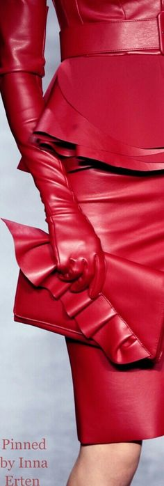 Inna Erten red leather jacket skirt gloves ensemble runway fashion