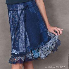 Юбки ручной работы. Валяная юбка Синяя Птица. Алла Малахова ( Alla Malakhova ). Ярмарка Мастеров. blue
