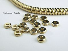 Brass-Raw Brass--Rondelle  Spacer Beads 6.2mm Hole 2mm (50) #Unbranded #Boheiman