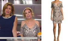Embellishment Envy! Get details on Kathy Lee Gifford's Cold Shoulder Dress https://www.bigblondehair.com/kathy-lee-giffords-cold-shoulder-sequin-dress-on-today/ #KLGandHoda Kathy Lee and Hoda